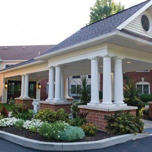 Entrance to Laurelwood Assisted Living Apartments at The Highlands at Pittsford