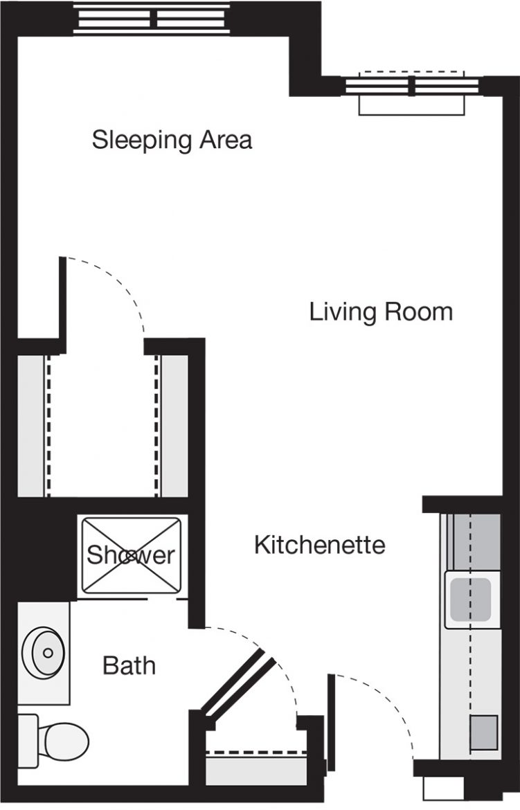 Alcove Deluxe Apartment Floor Plan