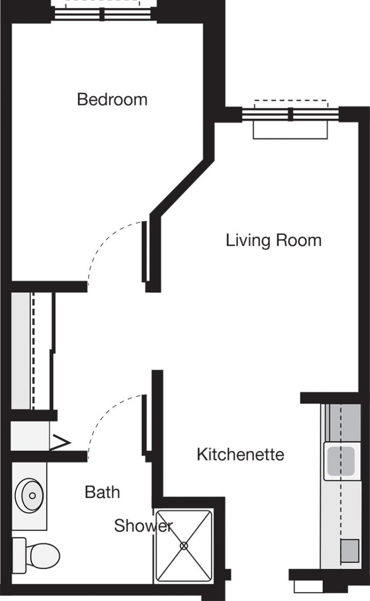 Laurelwood One Bedroom Floor Plan