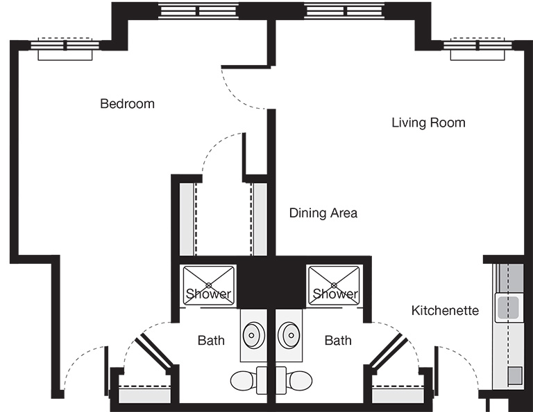 One Bedroom Classic Suite Floor Plan