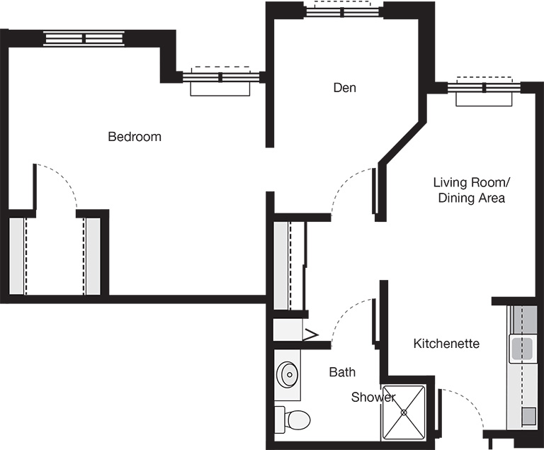 One Bedroom Deluxe Suite Floor Plan